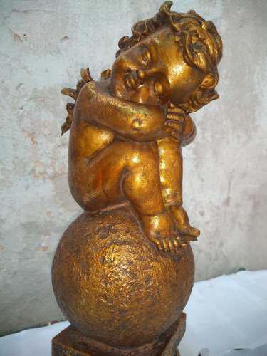 Escultura querubín angelito antiguo en galalite