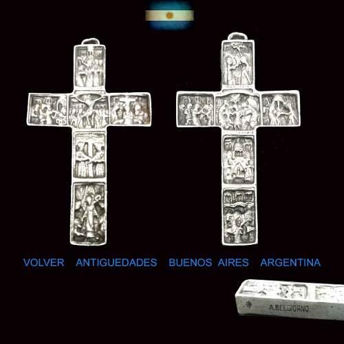 Antonio belgiorno antigua cruz de plata con escenas cristo