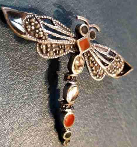 Broche prendedor plata libelula esmalte 6 gr 4 cm