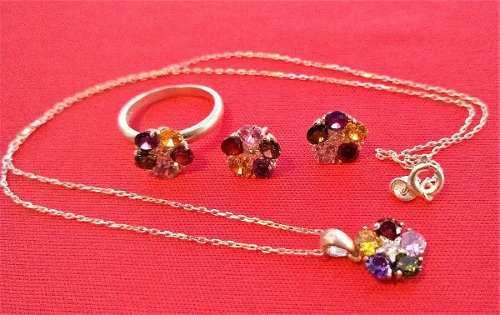 Dije cadena aros y anillo de plata 925 piedras de colores