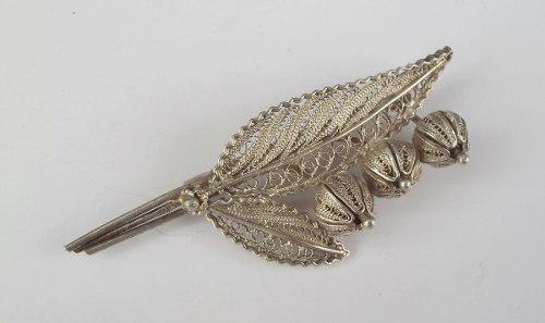 Prendedor o broche plata filigranada sellada antiguo