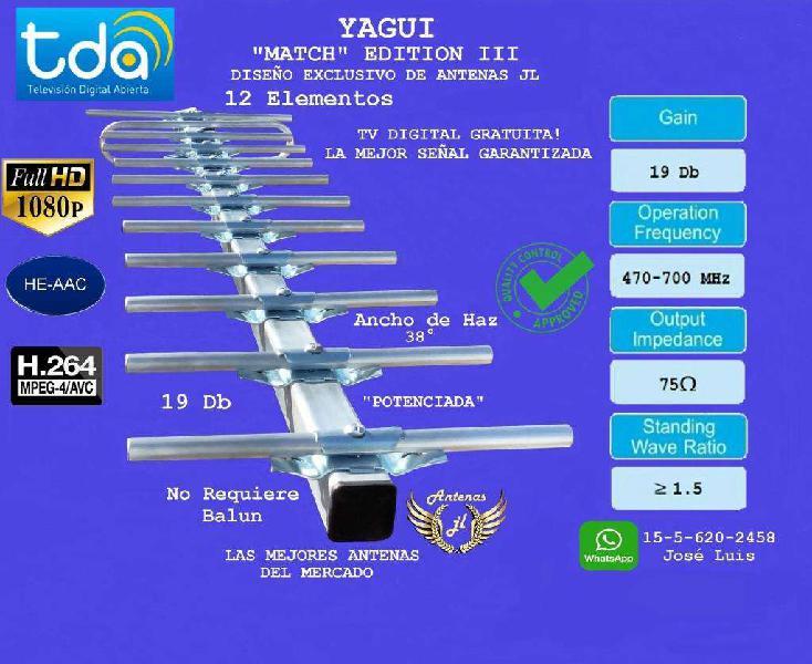 Antena tv digital abierta. yagui match ed iii.12 ele,19 db,