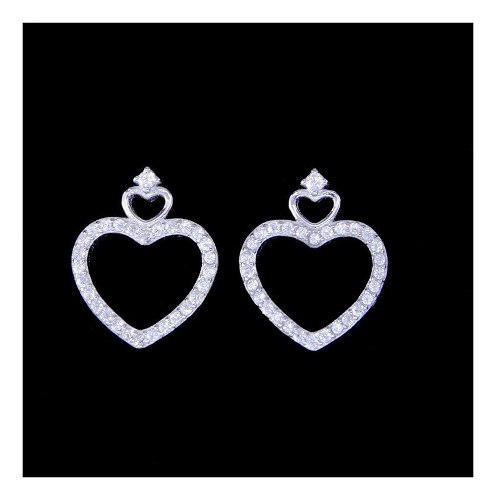 Nuevos aros de plata 925 corazónes grandes con cúbic x