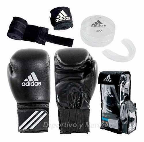 Guantes boxeo adidas + par vendas + bucal original mma kick