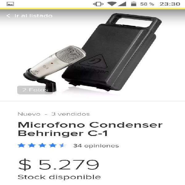 Microfono Condenser C1 mas Cable Xrl Canon 3metros