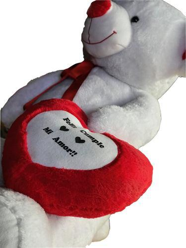 Oso peluche gigante 1,60 metros blanco corazon personalizado