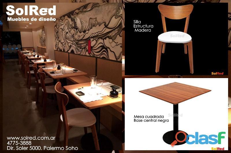 Silla escandinava y mesa para restaurante
