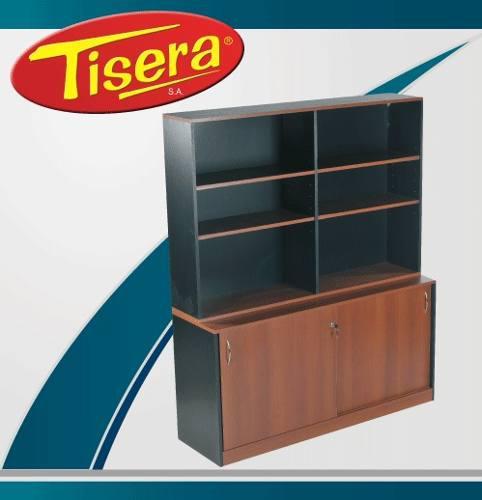 Biblioteca estantes puertas oficina escritorio tisera bib-13