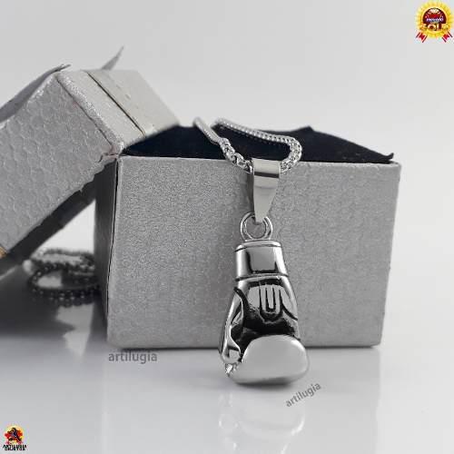 Collar guante boxeador gym macizo cadena estuche 24 mod