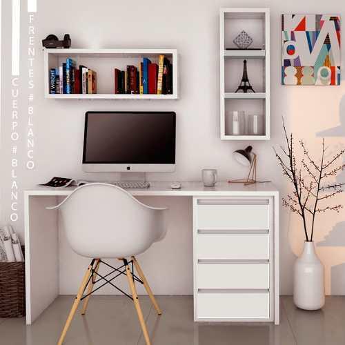 Combo escritorio hogar moderno respisas flotantes