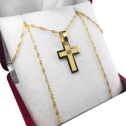 Conjunto cruz y cadena oro 18k chico 45cm mujer niños/as