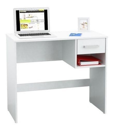 Escritorio centro estant de melamina estante y cajón blanco