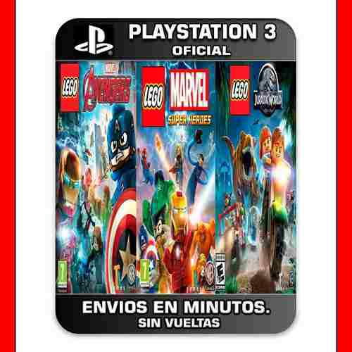 Lego Pack Ps3 Jurassic World + Super Heroes + Avengers