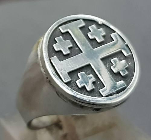 Anillo templario cruz jerusalen plata 1,8 cm 14 gr art 771