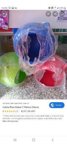 Cucha plastico perro o gato color verde o azul