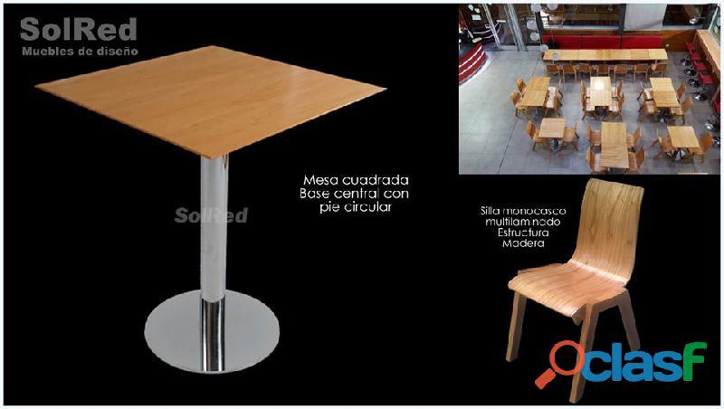 Mesas y sillas para espacios sociales