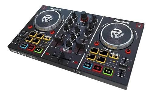 Controlador dj numark party mix con luces led virtual dj le