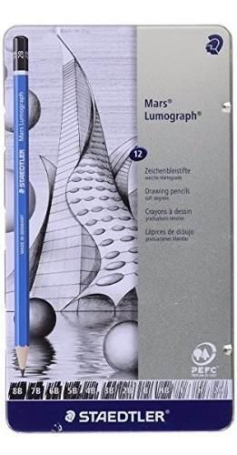 Lapices staedtler mars lumograph x 12 caja metalica