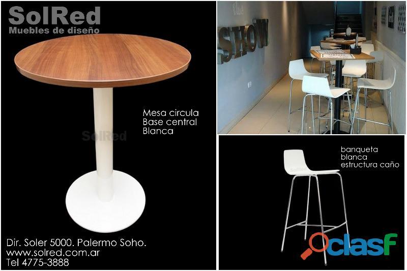 Mesa circular/banqueta blanca