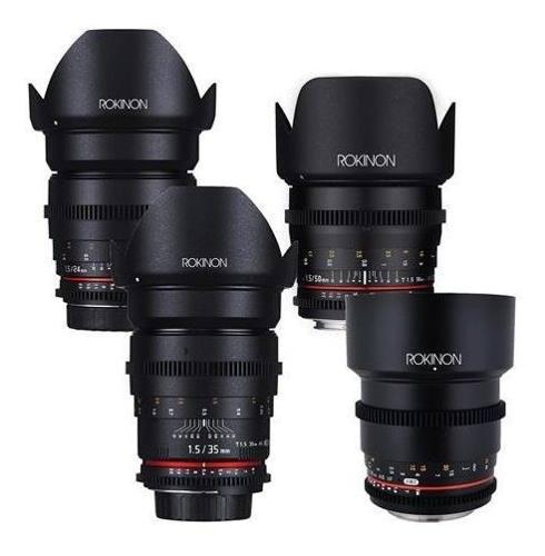 Rokinon cine ds t1.5 cinema lente kit 50mm + 35mm + 85mm +