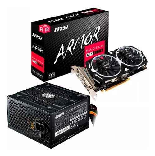 Combo placa video rx 570 4gb msi oc + fuente 400w mexx 4