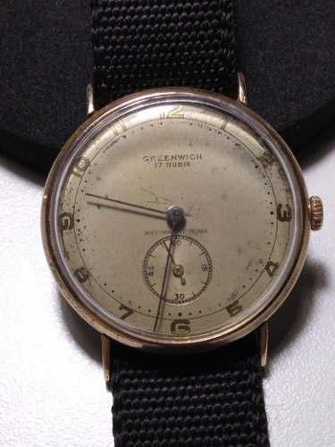 Antiguo reloj a cuerda greenwich 17jw circa 1940 cal.as984