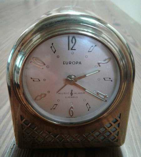 Antiguo reloj despertador europa cuerda bronce alemán