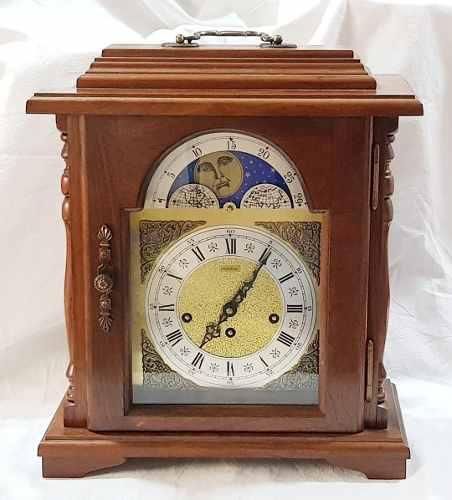 Antiguo reloj mesa carrillon 5 martillos fase lunar 40x34 cm