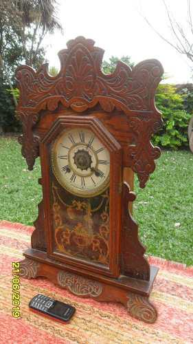 Lindo antiguo reloj mesa roble anezin waterbury usa