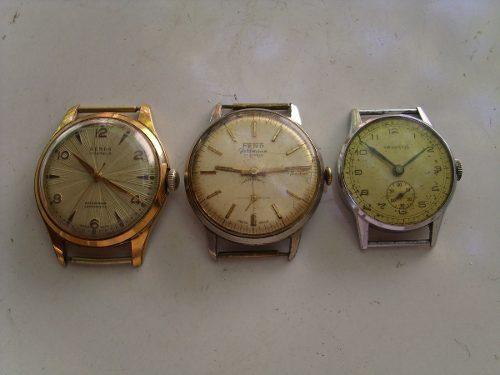 Lote de 3 antiguos relojes pulsera a cuerda.a reparar
