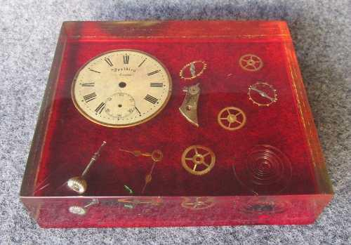 Vintage pisapapeles de acrilico,piezas maquina reloj antiguo