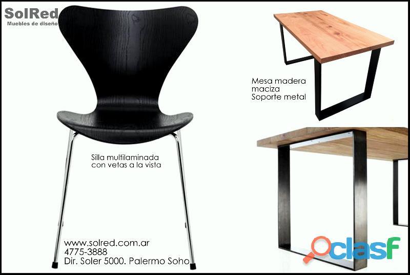 Mesa maciza/soporte hierro nero/silla multilaminada, vetas a la vista