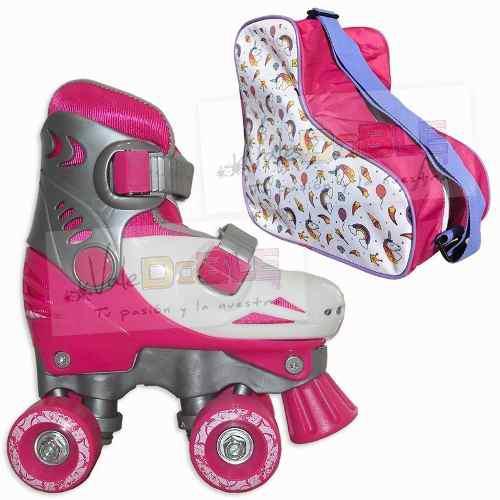 Combo patines extensibles para nena 4 ruedas 24-35 + bolso