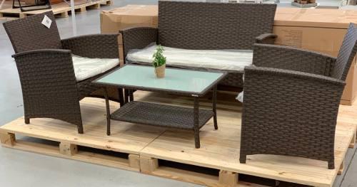 Set de jardín ratan mesa + 2 sillones + 1 sofá premium