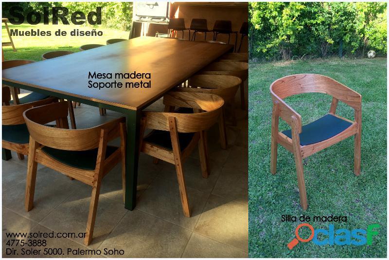 Mesa y silla para ambientaciones exteriores