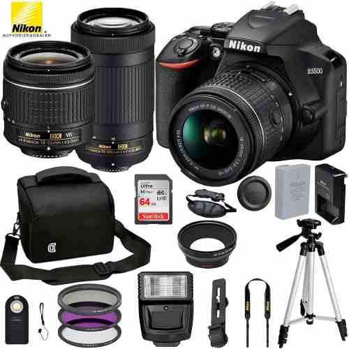 Camara reflex nikon d3500 con bluetooth + kit accesorios