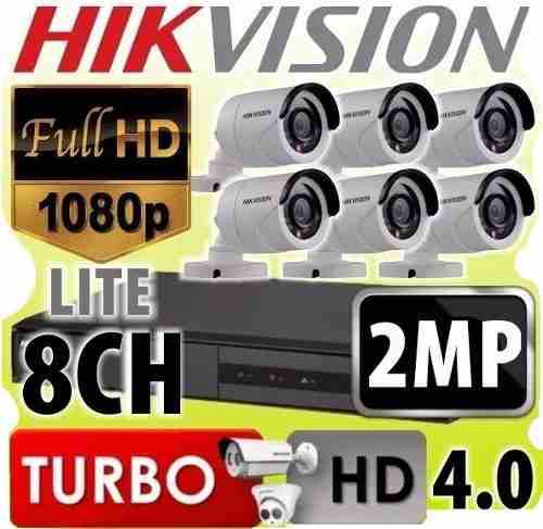 Kit seguridad hikvision dvr 8 + 6 camaras 1080p 2mp exterior