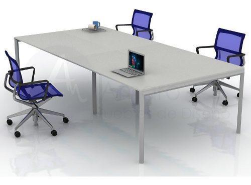 Puesto de trabajo, escritorio cuadruple, mesa symphony