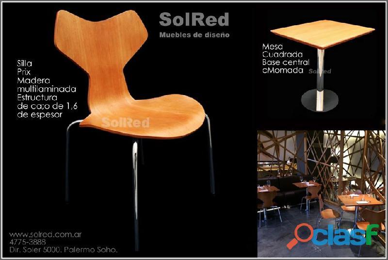 Mesa y silla para espacios sociales