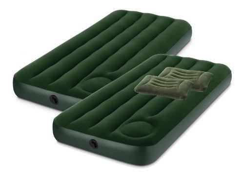 Colchón inflable 1 plaza x 2 uni. intex + almohadas x 2