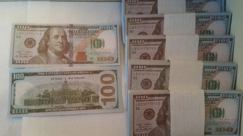 Billetes cotillòn dolar x 100 unidades tamaño real