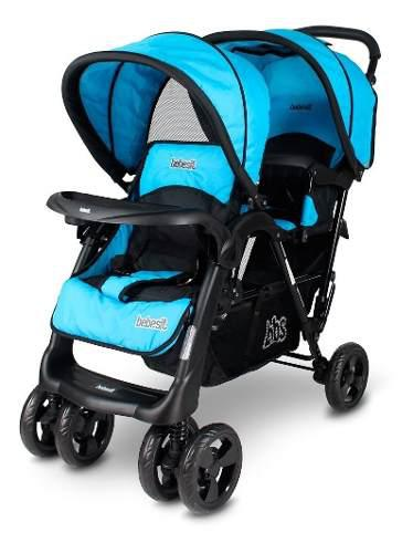 Coche de bebes doble hermanitos mellizos bebesit 1805 azul