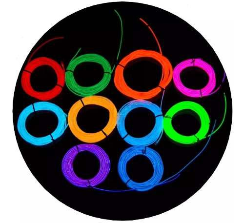 Hilo de neon led el wire 3 metro cable luces tuning pilas 3v