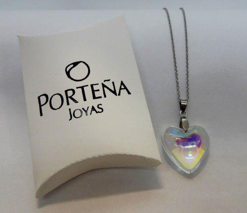 Cadena acero c/ dije corazon acrilico colores regalo navidad