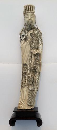 Okimono guerrero oriental talla antigua original grande 40cm