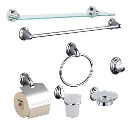 Set kit juego accesorios para baño 7 piezas cromado estante