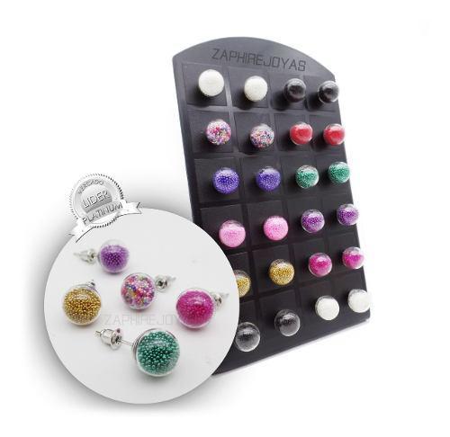 12 aros acrilico micro perlitas acero quirurgico por mayor