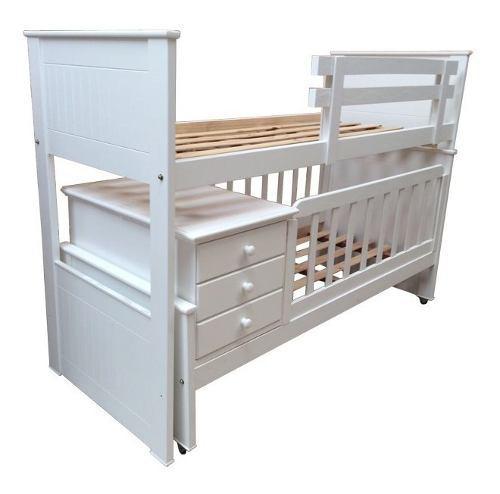 Cuna funcional superpuesta cama cucheta laqueada blanco