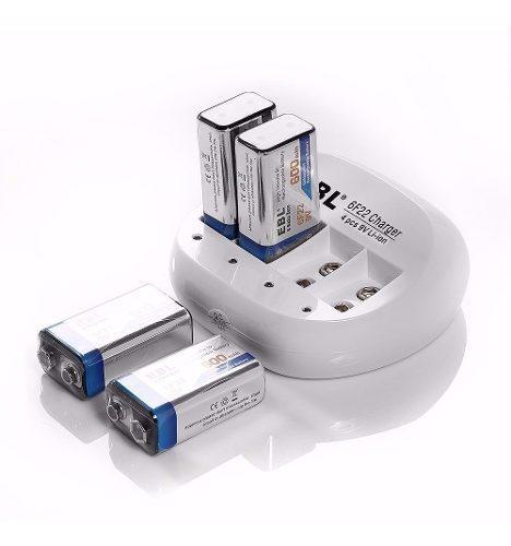 Cargador baterias de litio y 3 baterias 9v recarg. 600mah
