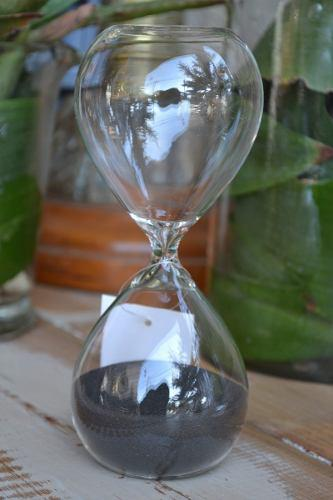 Reloj de arena negra estilo antiguo - 15 minutos 17x7.5cm